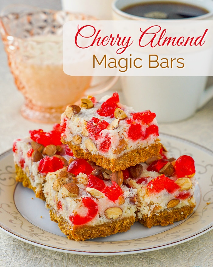 Cherry Almond Magic Bars image with title text
