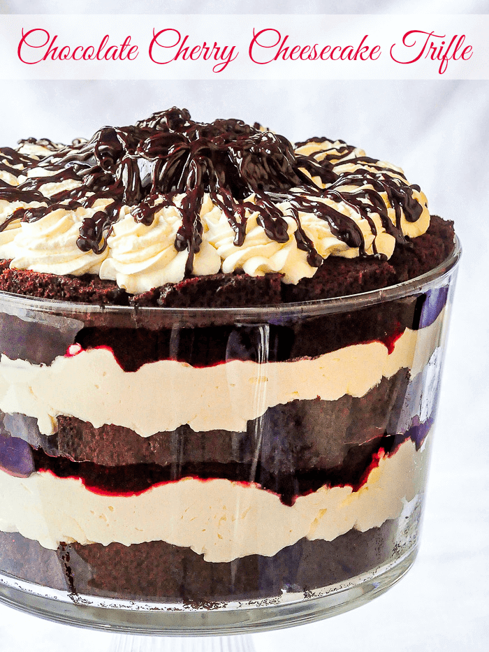 Chocolate Cherry Cheesecake Trifle image with title text for social media