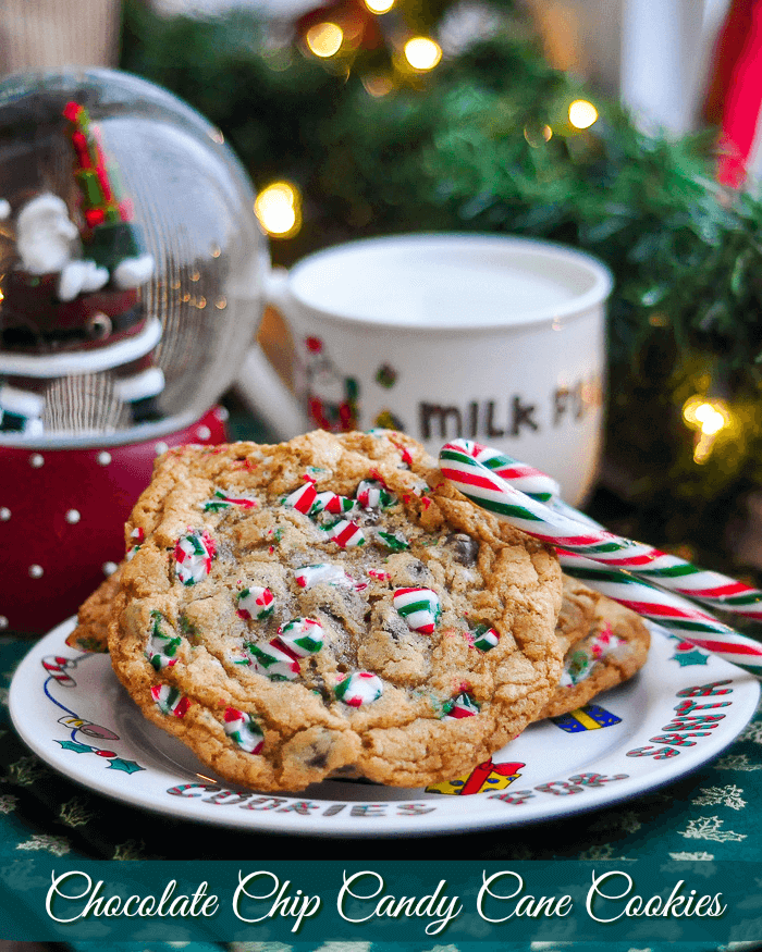 Chocolate Chip Candy Cane Cookies image with title text for social media sharing.