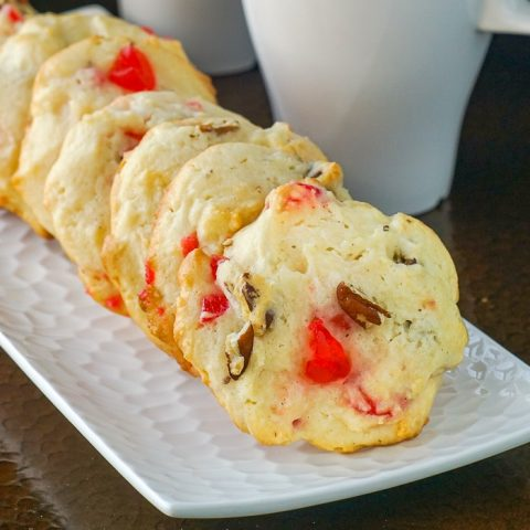 Cream Cheese Cookies with Cherries and Pecans