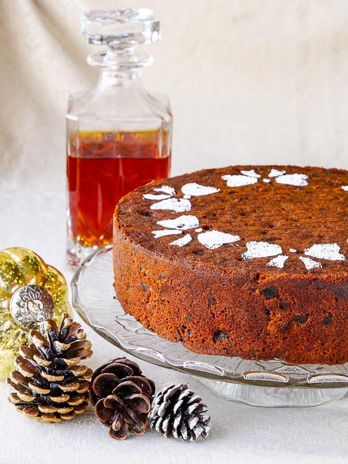 Apricot & Brandy Fruitcake featured close up photo of uncut cake.