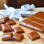 Homemade Chewy Caramels shown being cut