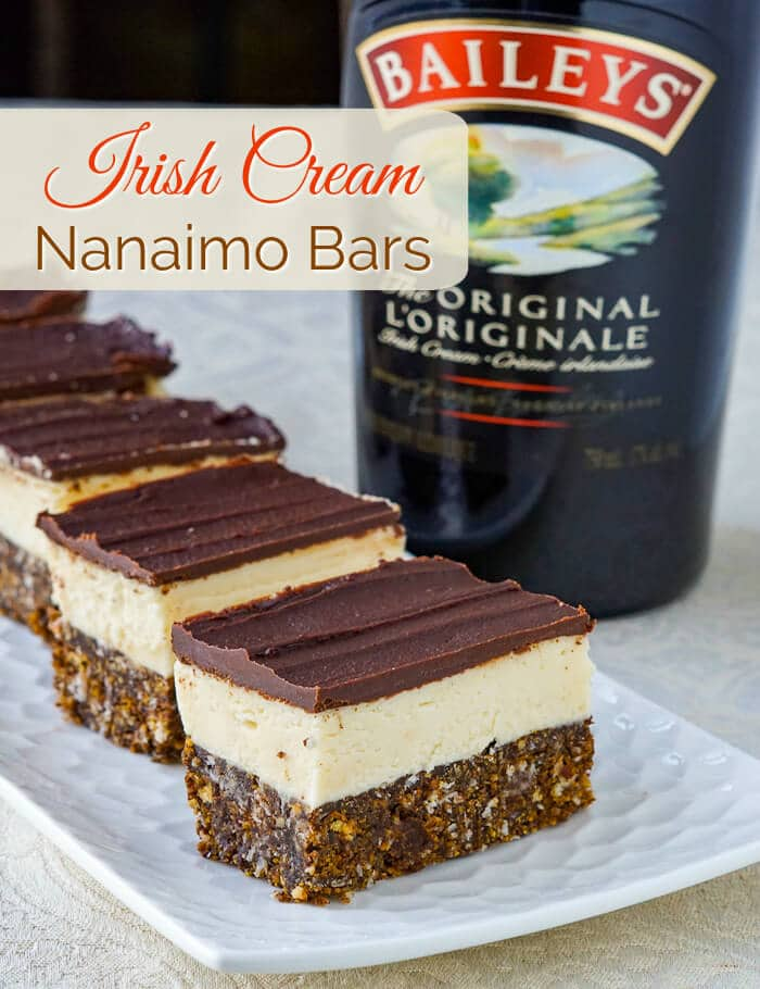 Irish Cream Nanaimo Bars image with title text