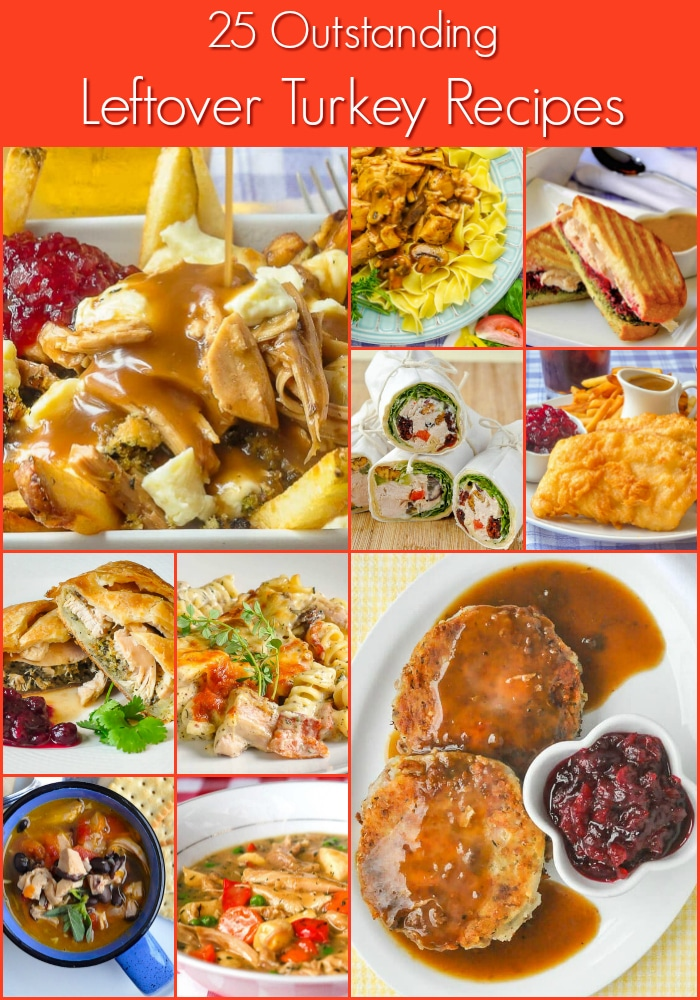 Leftover Turkey Recipes 10 photo collage with title text for Pinterest