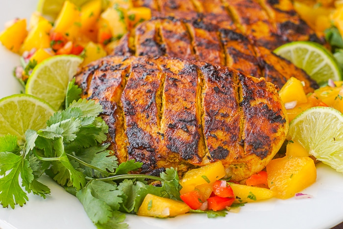 Tandoori Grilled Chicken close up photo of chicken ands peach salsa