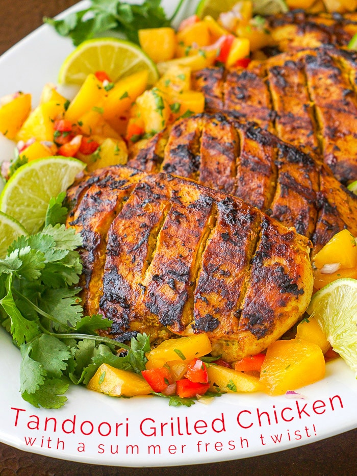 Tandoori Grilled Chicken photo with title text for Pinterest