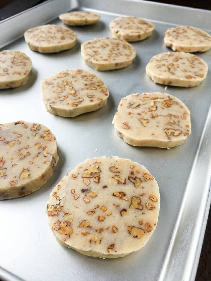 Toffee Pecan Shortbread Cookies ready for the oven