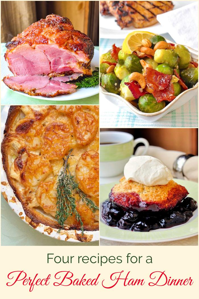 Baked Ham dinner photo collage for Pinterest