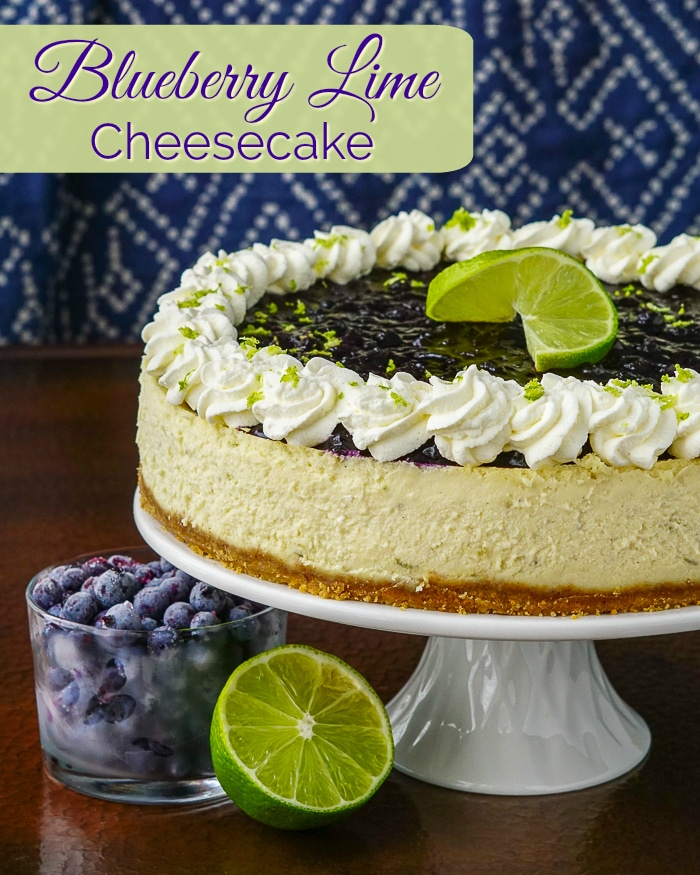 Blueberry Lime Cheesecake photo with title text