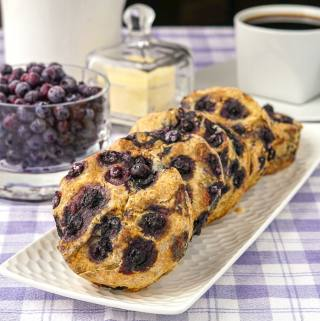 Blueberry Scones, whole wheat and no sugar added.