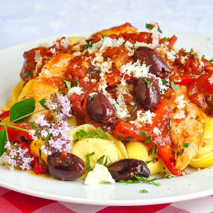 Garlic Chicken Puttanesca close up photo for featured image