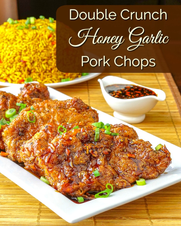 Double Crunch Honey Garlic Pork Chops photo with title text for Pinterest