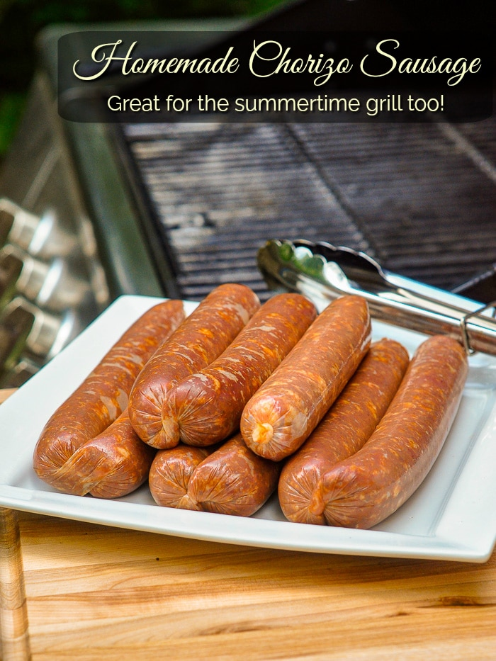 Homemade Chorizo Sausage pictured beside a gas grill with title text added for Pinterest