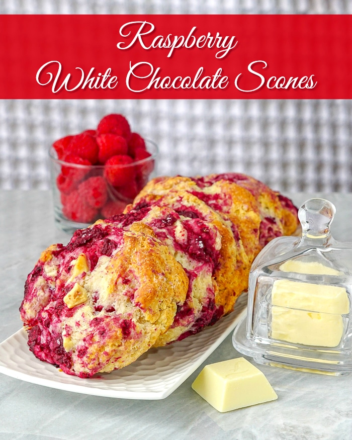 Raspberry White Chocolate Scones image with title text for Pinterest