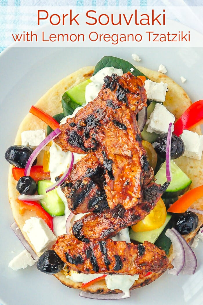 pork souvlaki with title text for pinterest