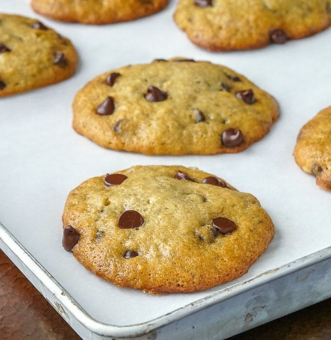 Banana Bread Cookies shown coming straight from the oven.