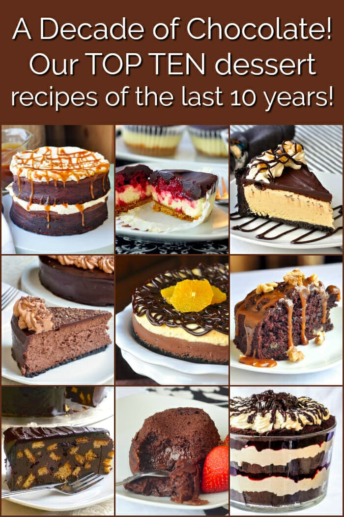 Best Chocolate Dessert Recipes image collage with title text for Pinterest