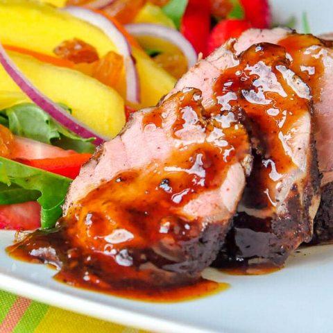 Rum Spice Glazed Pork Tenderloin close up