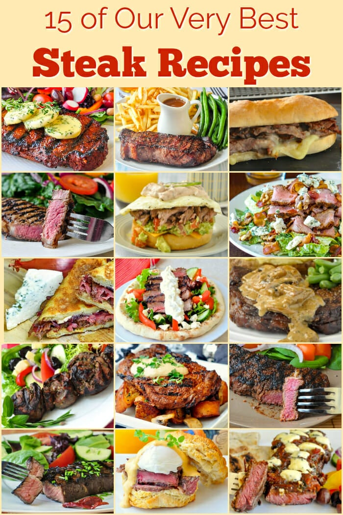 Best Steak recipes image with title text for Pinterest