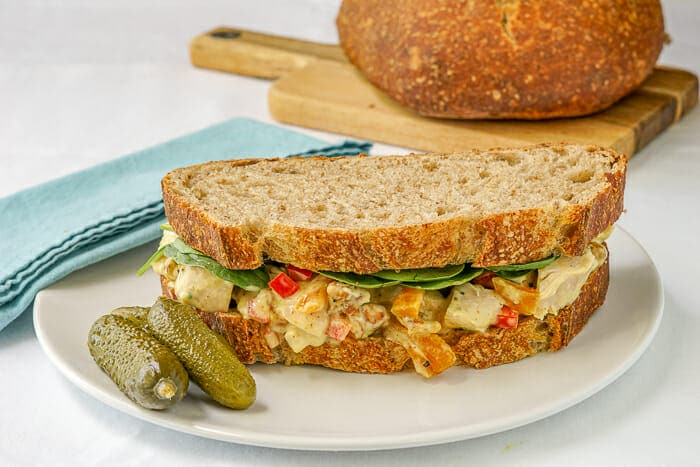 Curry Chicken Salad on whole wheat sourdough bread