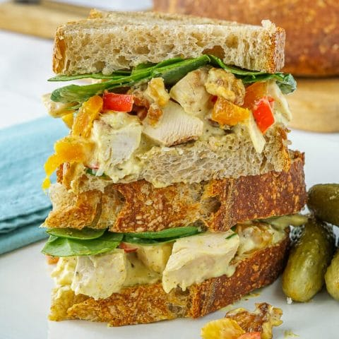 Curry Chicken Salad with apricots and walnuts