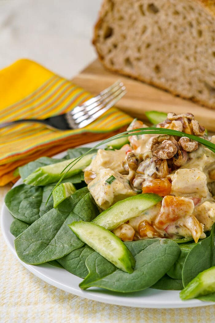 Curry Chicken Salad served on green salad