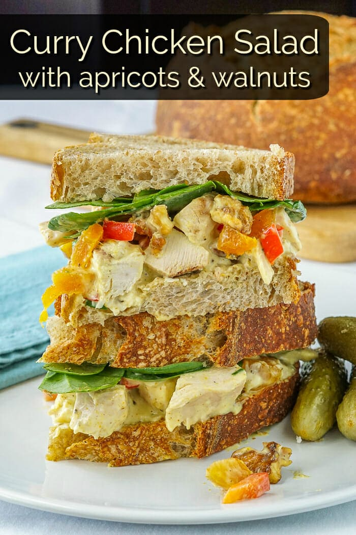 Curry Chicken Salad with apricots and walnuts, image with added title text