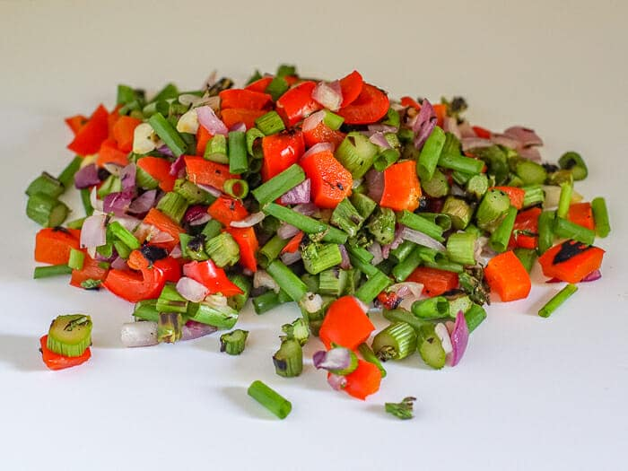 Chopped veggies for vegetables for grilled vegetable quiche