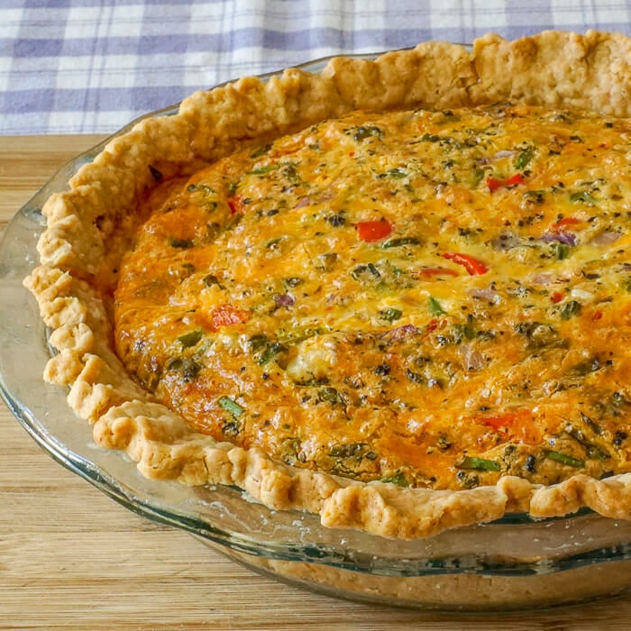 Grilled Vegetable Quiche, just out of the oven.