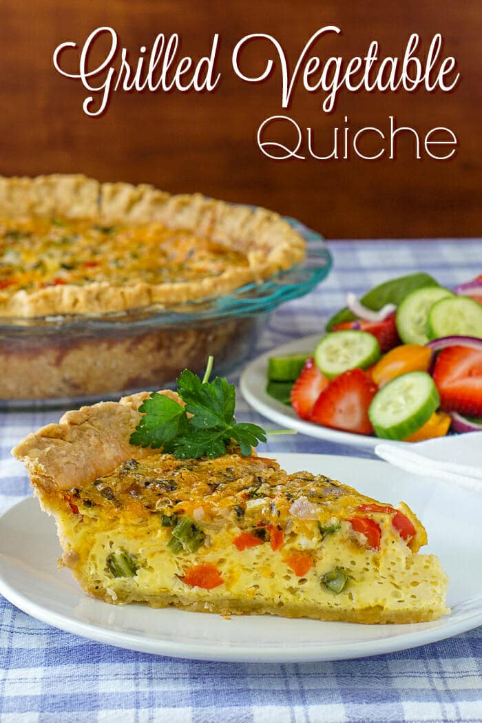 Grilled Vegetable Quiche photo with title text overlay for Pinterest