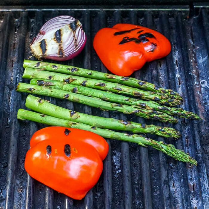 Grilling vegetables for grilled vegetable quiche