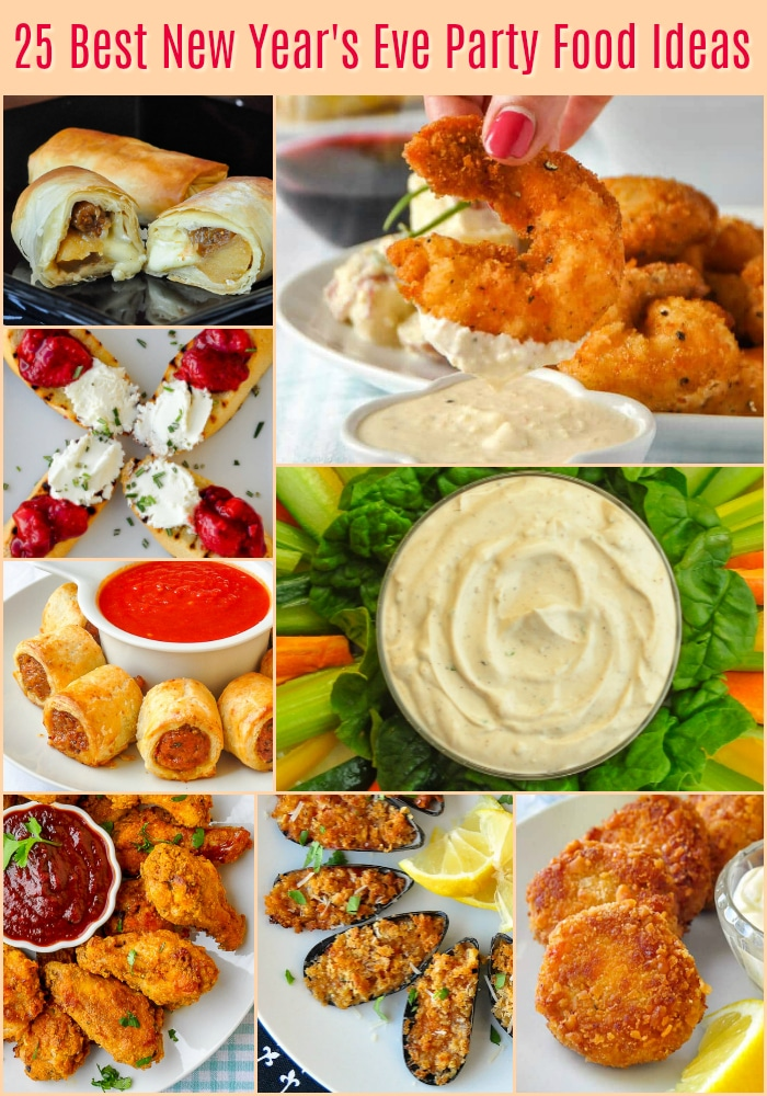 Best New Year's Eve Party Food Ideas photo collage with title text for Pinterest