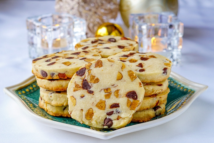 Chocolate Almond Shortbread Cookies wide shot on green plate