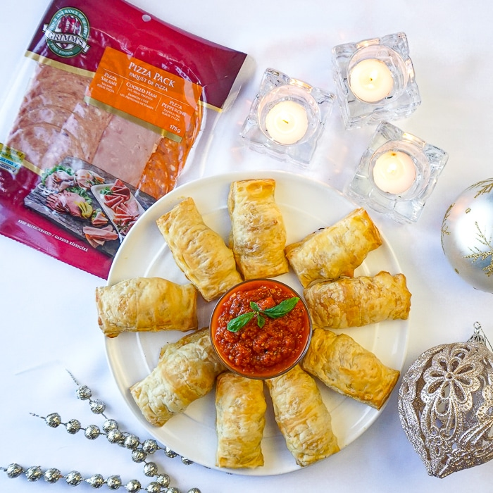 Pizza Puffs showing Grimm's Fine Foods Pizza Pack