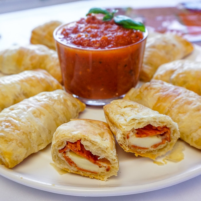 Pizza Puffs showing the inside