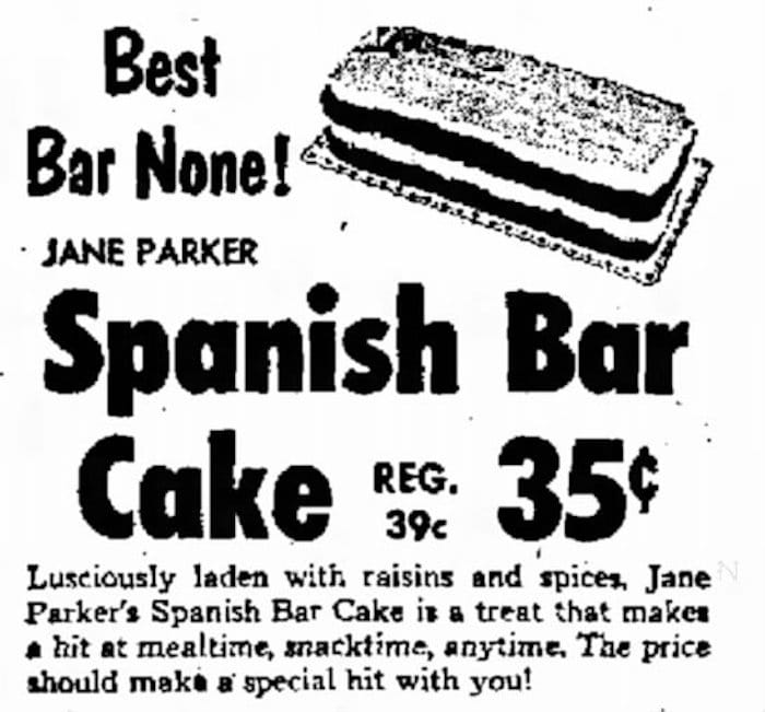 Spanish Bar Cake old newspaper ad from 1960!