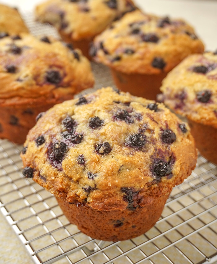 Bakery Style Blueberry Muffins cooling on a wire rack