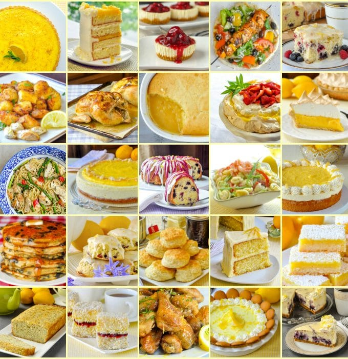 Best Lemon Recipes featured image collage of 25 thumbnails