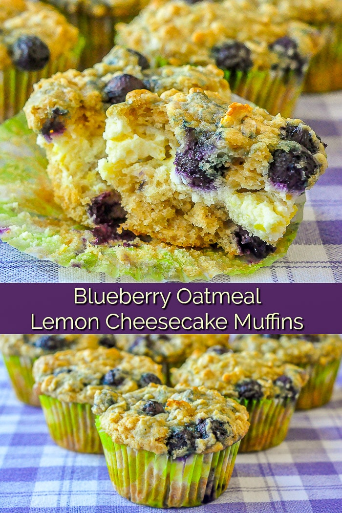 Blueberry Oatmeal Lemon Cheesecake Muffins image collage with title text for Pinterest