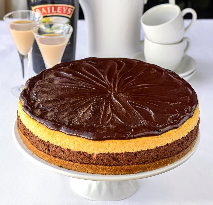Chocolate Truffle Irish Cream Cheesecake photo of uncut cake