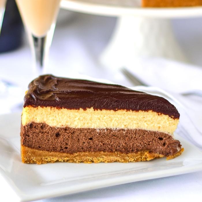 lose up photo of one slice of Chocolate Truffle Irish Cream Cheesecake