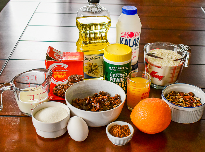 Ingredients for date orange muffins