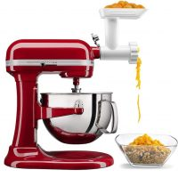 KitchenAid Professional 6 Quart Bowl Lift Stand Mixer with Food Grinder Attachment, Empire Red