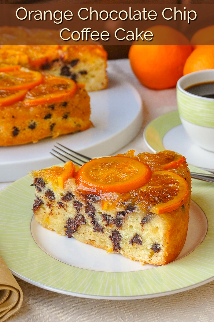 Orange Chocolate Chip Coffee Cake. A delightful combination of citrus and chocolate flavours all in a buttery rich coffee cake. #brunch #sundaybrunch #coffeecake