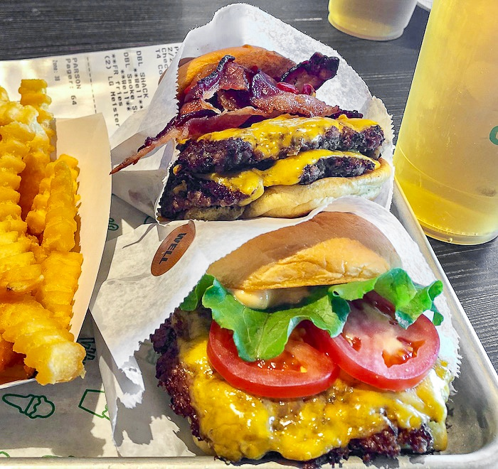 Shake Shack Orlando. Single cheeseburger and Smoke Shack Burger.
