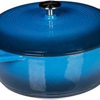 AmazonBasics Enameled Cast Iron Dutch Oven - 7.5-Quart, Blue