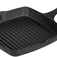 AmazonBasics Pre-Seasoned Cast Iron Square Grill Pan - 10.25-Inch