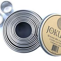 JOKUMO 12 Piece Plain Round Pastry/Cookie Cutter Set Heavy Duty Commercial Grade 18/8 304 Stainless Steel - Metal Marked Size - Perfect for Cooking Enthusiast