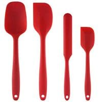 Silicone Spatula Set : U-Taste 450ºF Heat-Resistant Spatula - One Piece Seamless Design, Non-Stick Silicone Rubber with Reinforced Stainless Steel Core (4 Piece Set, Red)