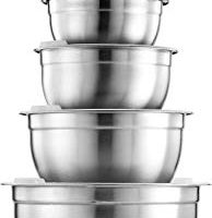 FineDine Premium Various Sizes Stainless Steel Mixing Bowl (10 Piece) With Airtight Lids